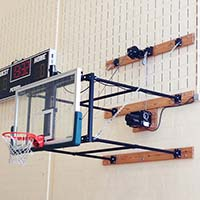 "Fold-Up Backstop System - w/ 42"" Glass Backboard (4'- 6' Ext)"