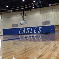 Gymnasium Wall Padding - White Lettering