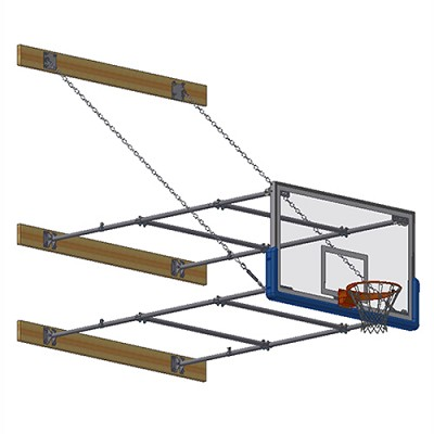 "Stationary Backstop System - w/ 42"" Glass Backboard (8'-10' Ext)"