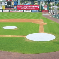 Baseball Tarp with Ground Stakes (26' Round - 6 oz. Polyethylene) (Home Plate) (White or Silver - Reversible)
