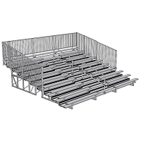 Bleacher - 21' (10 Row - Single Foot Plank with Guard Rail & Aisle) - Enclosed