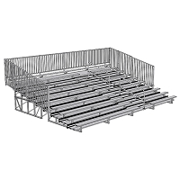 Bleacher - 27' (10 Row - Single Foot Plank with Guard Rail & Aisle) - Enclosed