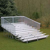Bleacher - 15' (10 Row - Single Foot Plank with Guard Rail) - Enclosed