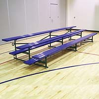 Bleacher - 7-1/2' (3 Row - Single Foot Plank) - Tip & Roll - Powder Coated