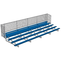 Bleacher - 27' (5 Row - Single Foot Plank with Guard Rail) - Enclosed - Powder Coated