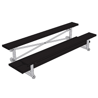 Bleacher - 7-1/2' (2 Row - Double Foot Plank) - Tip & Roll - Powder Coated