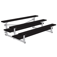 Bleacher - 7-1/2' (3 Row - Double Foot Plank) - Tip & Roll - Powder Coated