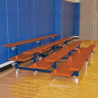 Bleacher - 7-1/2' (4 Row - Double Foot Plank) - Tip & Roll - Powder Coated