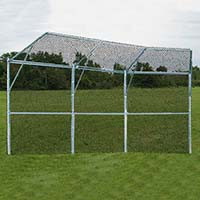 Backstop Fence (3 Panel, 1 Center Overhang, 2 Wing Overhangs) - Permanent