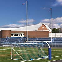 Steel Football Goal Post (Semi/Perm - 6'Ox20'U - High School - White)