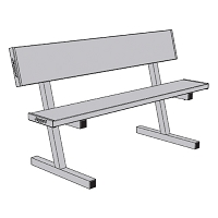 Courtside Bench with Seat Back -  5' - Portable