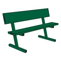 Courtside Bench with Seat Back -  5' - Portable - Powder Coated