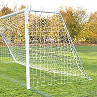 Classic Official Round, Semi-Permanent Goal w/ Backstays - 8' x 24' x 4' x 10' (Set of 2)