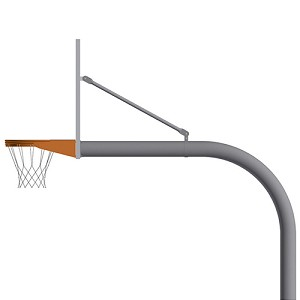 "Basketball System - Gooseneck (5-9/16"" Pole with 6' Offset) - 72"" Steel Backboard - Double Rim Goal"