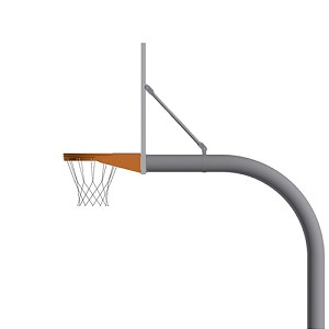 "Basketball System - Gooseneck (4-1/2"" Pole with 4' Offset) - 72"" Perforated Aluminum Board - Super Goal"