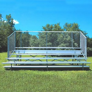 Bleacher - 15' (5 Row - Single Foot Plank with Chain Link Rail) - Enclosed