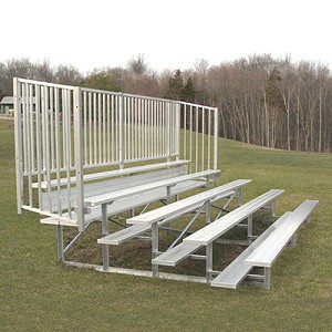 Bleacher - 15' (5 Row - Single Foot Plank, with Guard Rail) - Enclosed