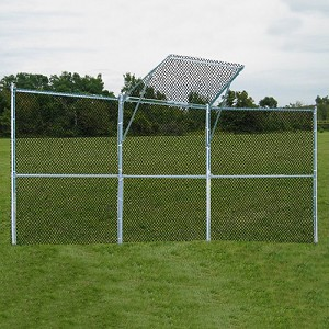 Backstop Fence (3 Panel, 1 Center Overhang) - Permanent
