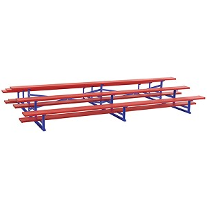 Back-to-Back Bleachers (21' - Single Foot Plank - 3 Row - Powder Coated)