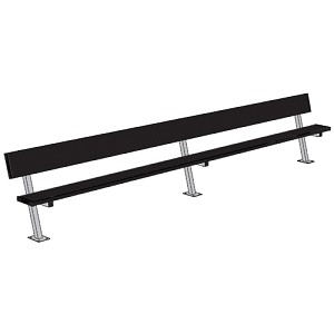 Player Bench (15' w/ Seat Back - Surface Mount Installation - Powder Coated)