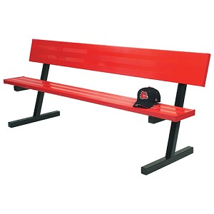 Player Bench with Seat Back - 7-1/2' - Surface Mount - Powder Coated