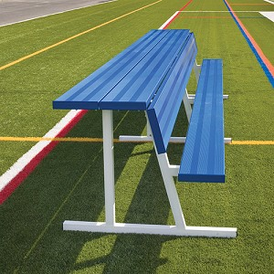 Player Bench with Seat Back and Shelf - 27' - Portable - Powder Coated