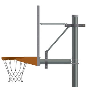 "Basketball System - Straight Post (4-1/2"" Pole with 4' Offset) - 72"" Steel Backboard - Flex Rim Goal"
