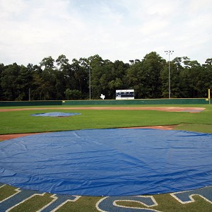 Baseball Tarp with Ground Stakes (Round - 18 oz. UV Treated Vinyl)