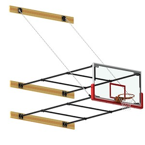 Basketball Backstop - Wall-Mounted - Shooting Station - Stationary Glass Backboard (2' - 4' Wall Offset)